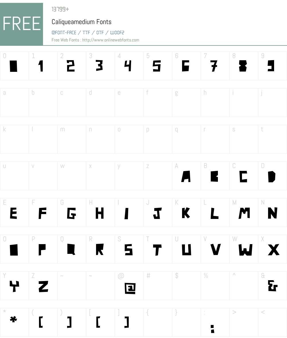 Caliquea Font Screenshots
