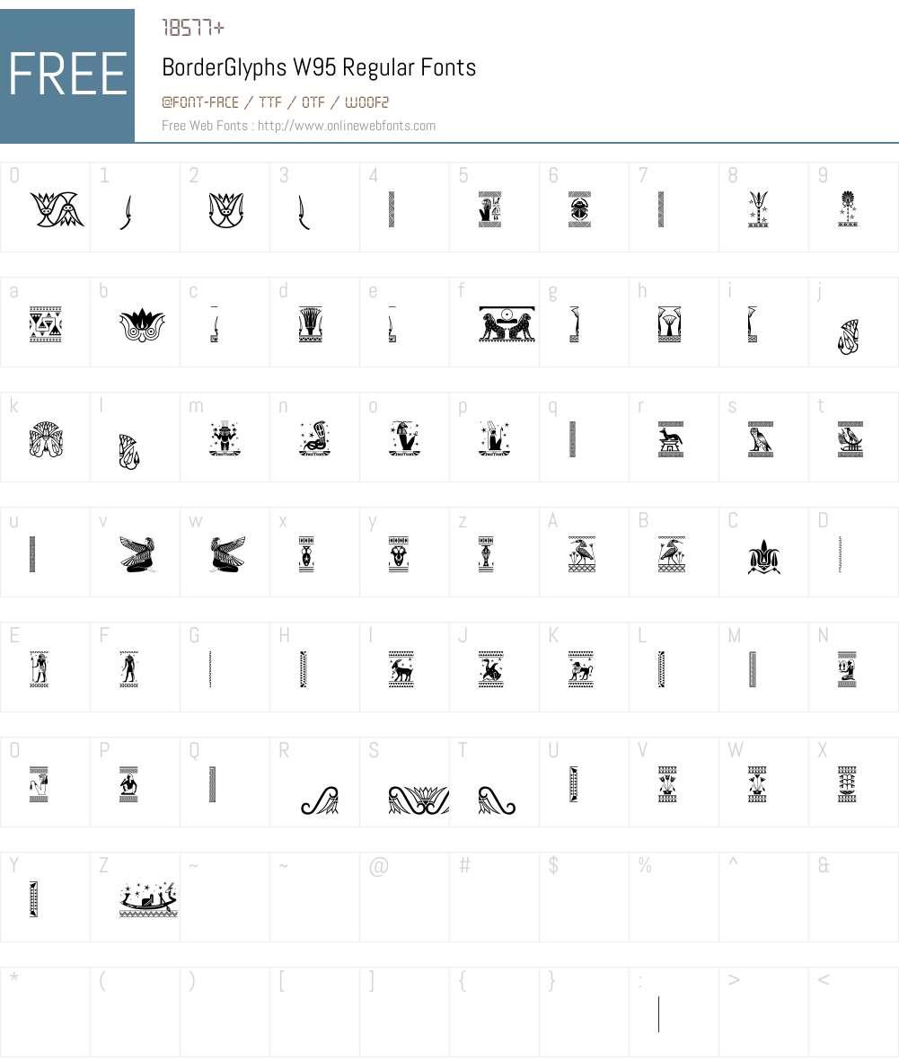 BorderGlyphsW95-Regular Font Screenshots