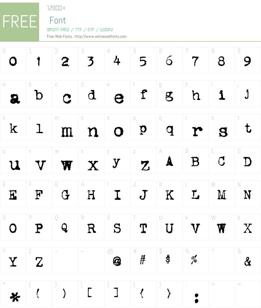 VTypewriter Font Screenshots