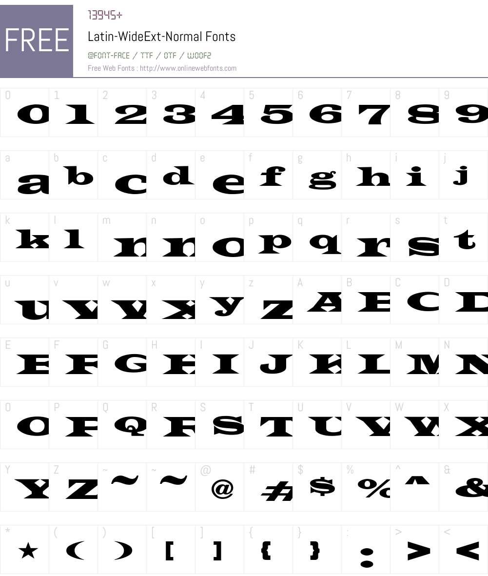 Latin-WideExt-Normal Font Screenshots