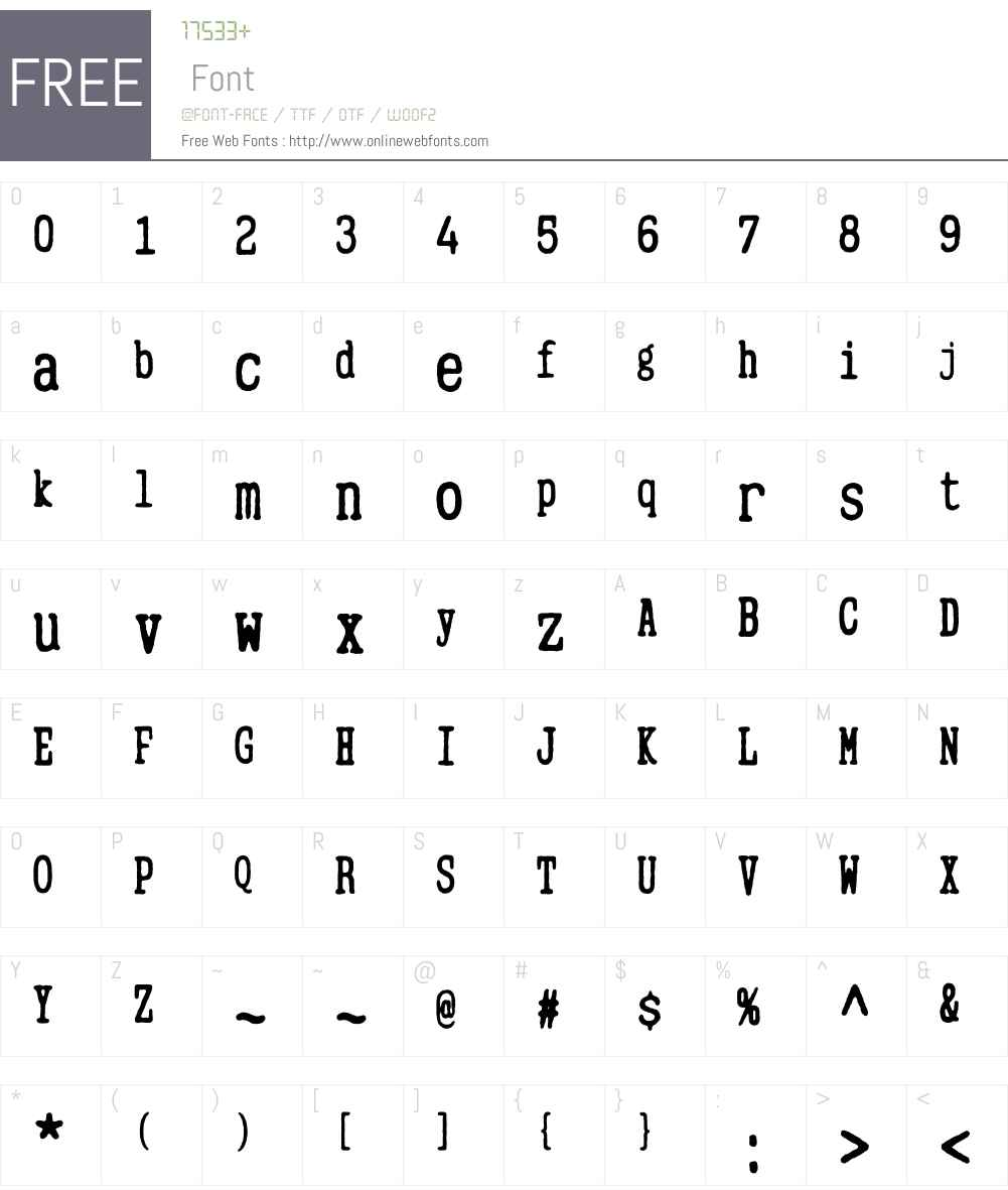 MitigateW00-TypewriterBold Font Screenshots