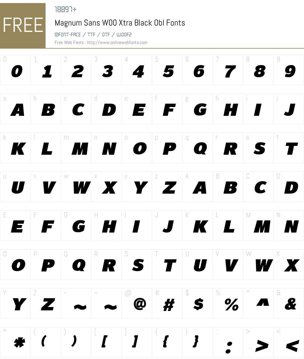 MagnumSansW00-ExtraBlackObl Font Screenshots