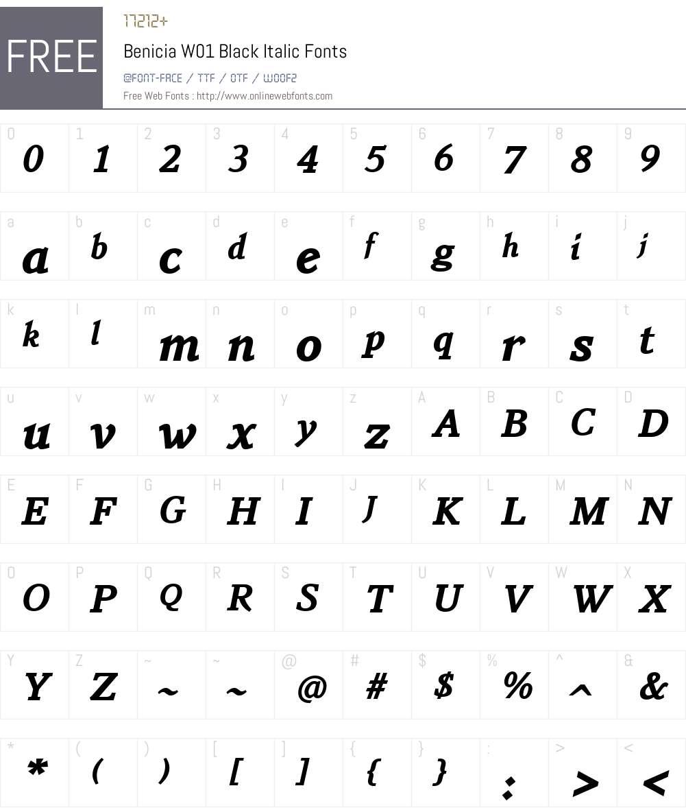 BeniciaW01-BlackItalic Font Screenshots