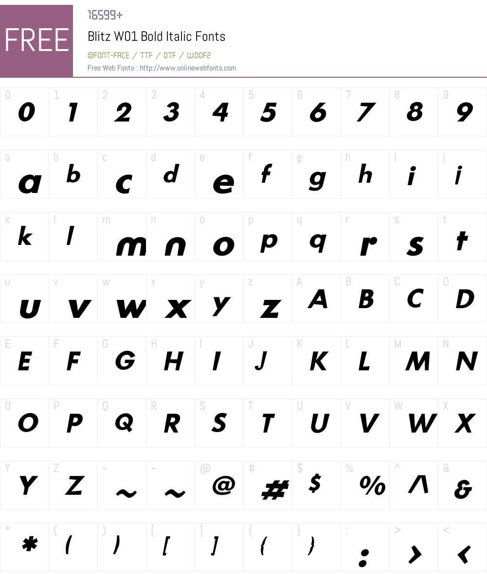 BlitzW01-BoldItalic Font Screenshots