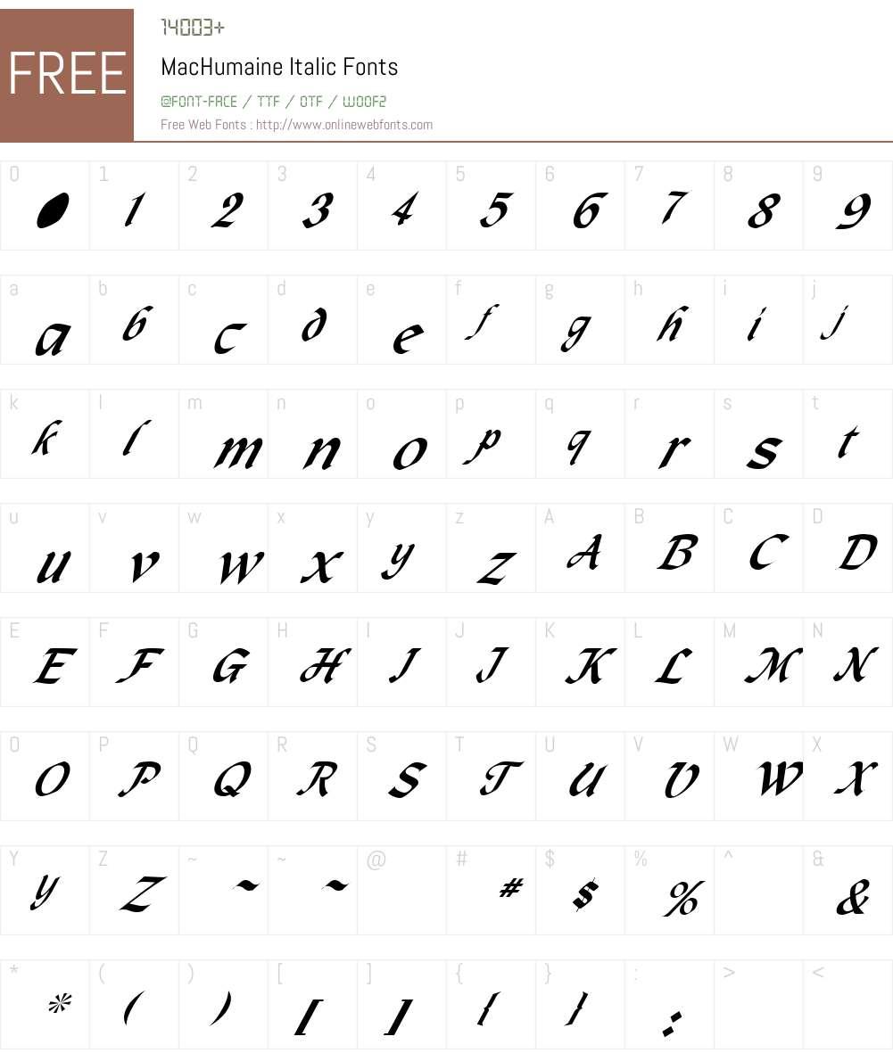 MacHumaine Font Screenshots
