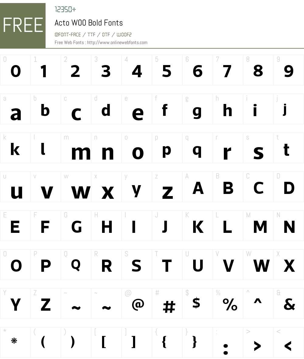 ActoW00-Bold Font Screenshots