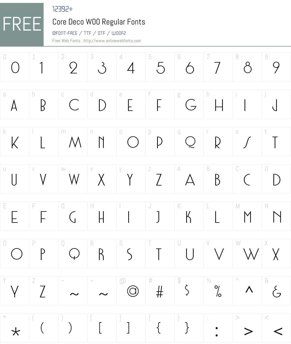 CoreDecoW00-Regular Font Screenshots