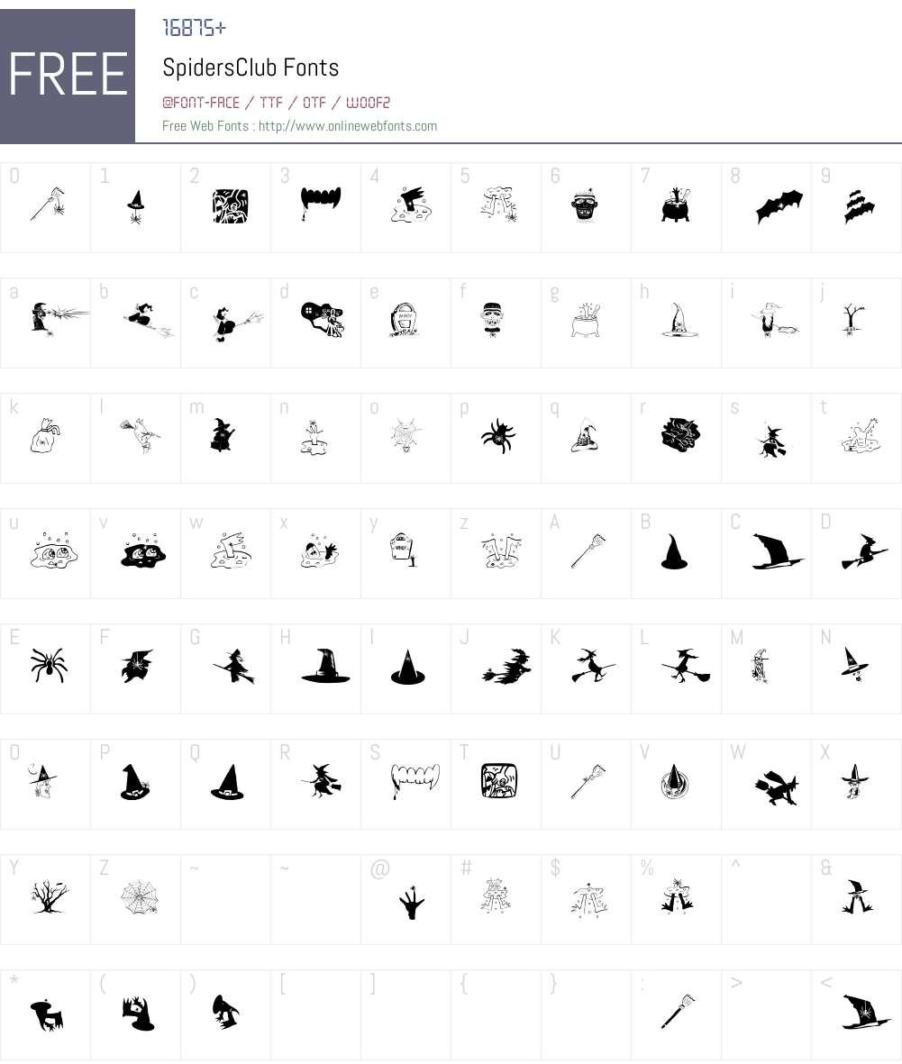 SpidersClub Font Screenshots
