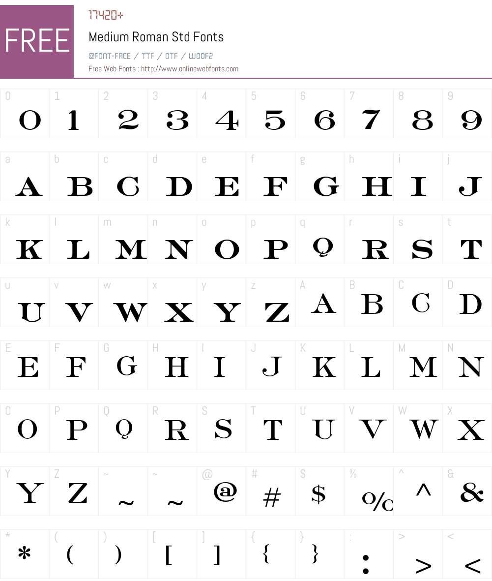 Medium Roman Std Font Screenshots