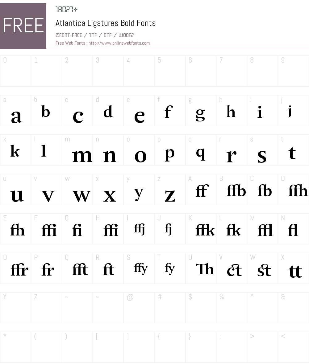 Atlantica Ligatures Font Screenshots