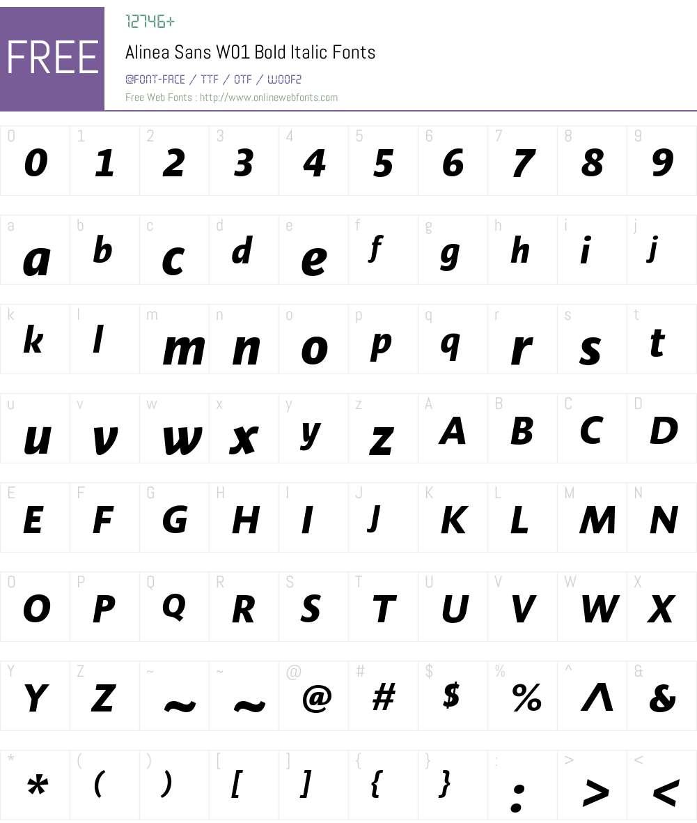 AlineaSansW01-BoldItalic Font Screenshots