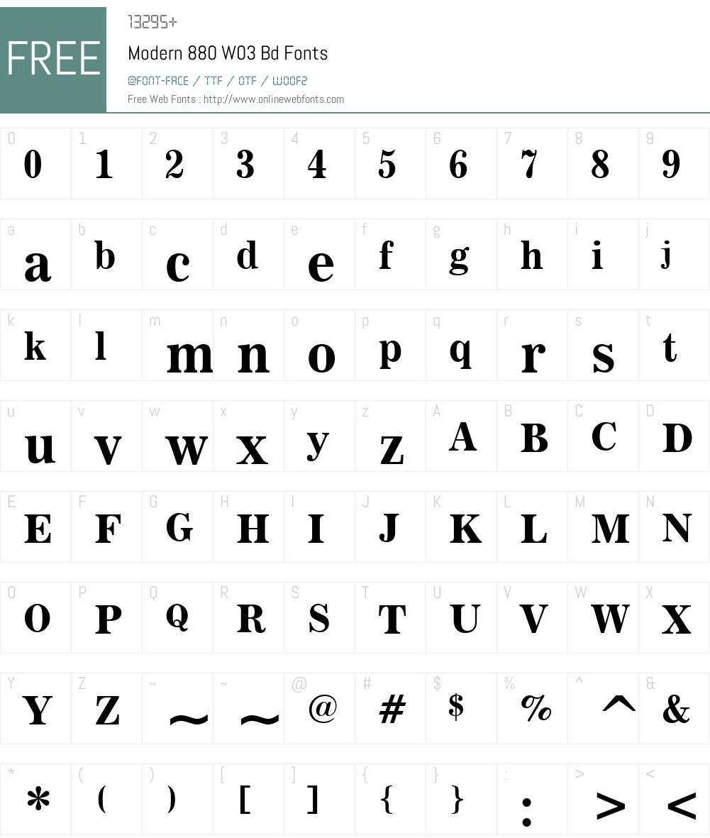 Modern 880 Font Screenshots
