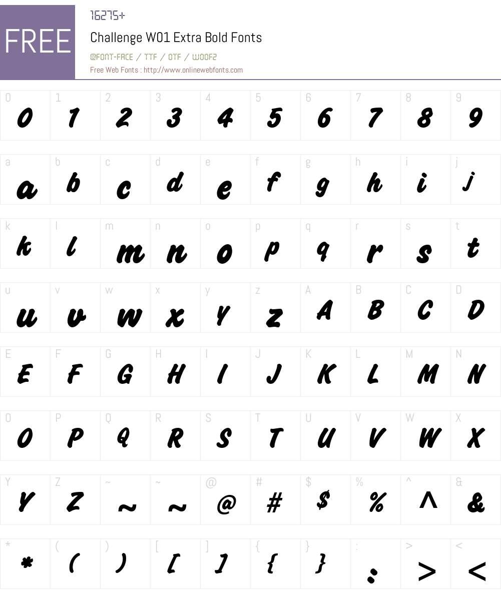 ChallengeW01-ExtraBold Font Screenshots