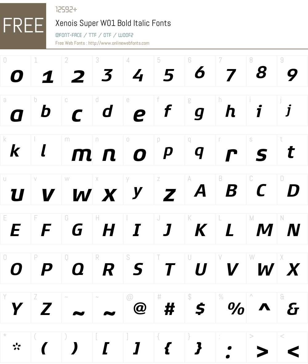 XenoisSuperW01-BoldItalic Font Screenshots