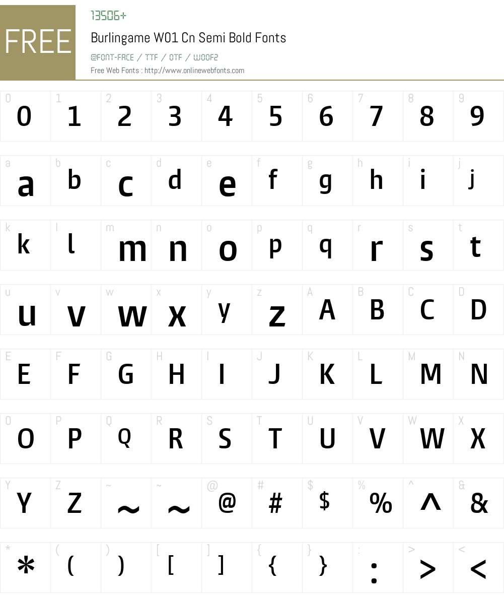 BurlingameW01-CnSemiBold Font Screenshots