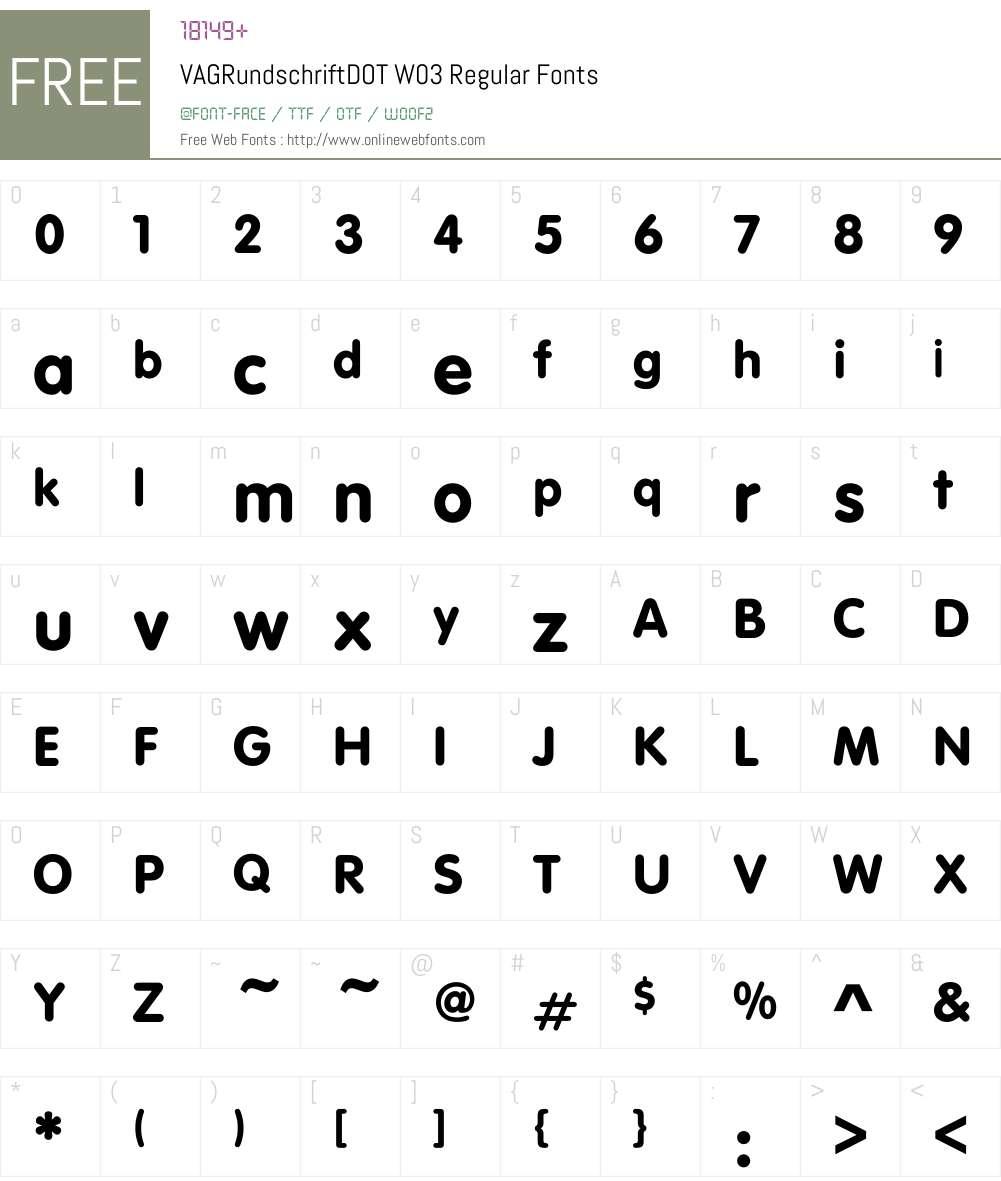 VAG Rundschrift Font Screenshots