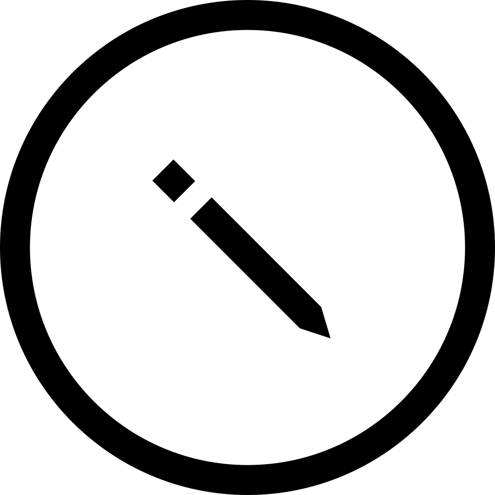 Pencil Symbol In Circular Button