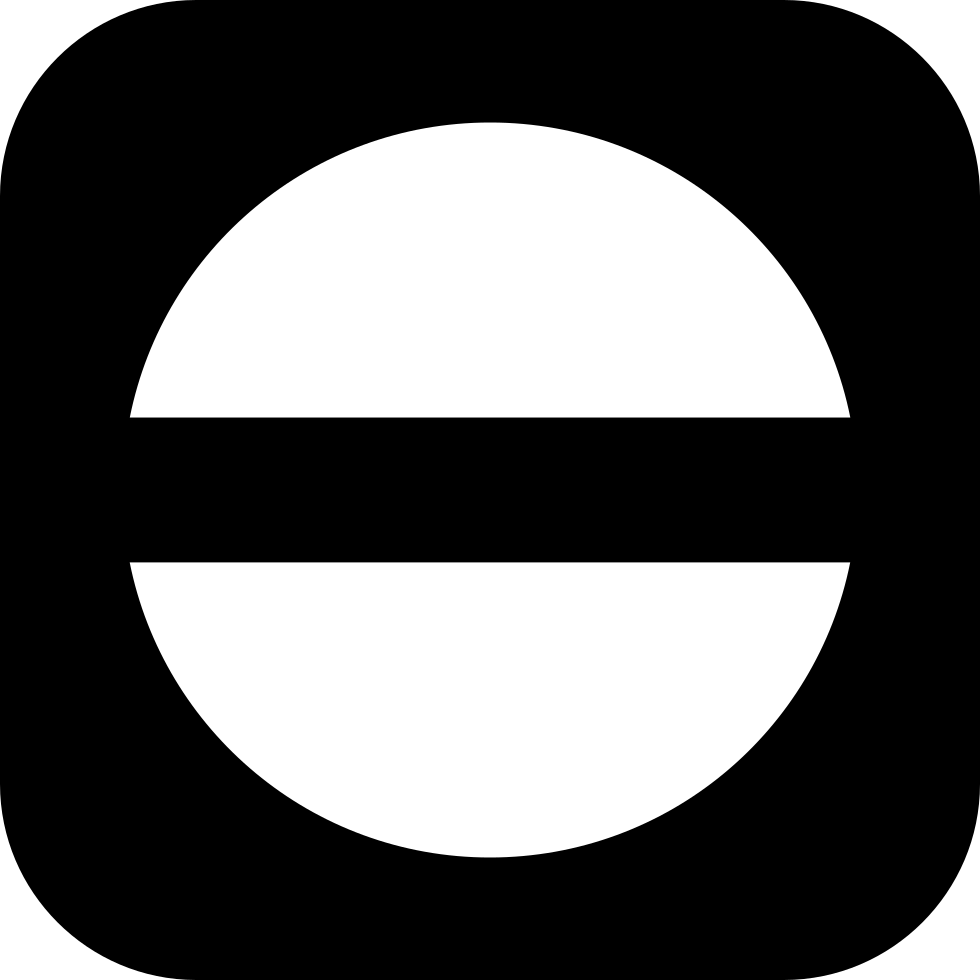 Circle With Horizontal Middle Line Inside A Rounded Square