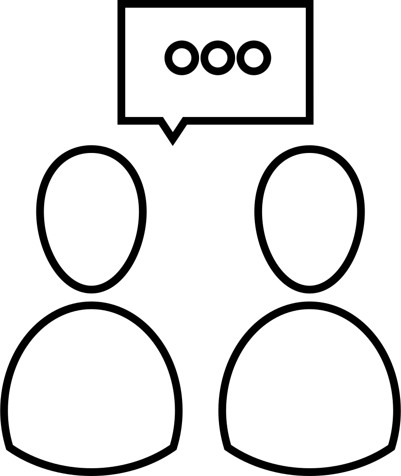 People Speaking Outline Symbol Inside A Circle