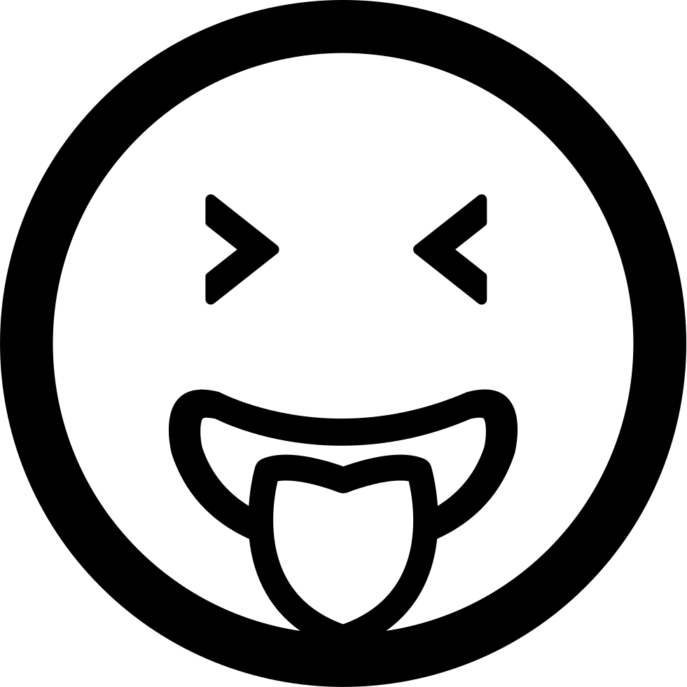 Emoticon Face Square With Tongue Out Of The Mouth And Closed Eyes