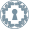 Keyhole In Pixelated Rhomb Shape Inside A Circle