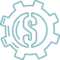 Dollar Sign In A Gear Wheel Outline