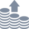Arrow Up Coins Stack