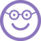 Nerd Happy Smiling Face In Rounded Square Face